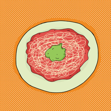 angel alone: Single plate of spaghetti with avocado on top Illustration