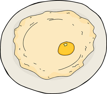 Isolated single cartoon fried egg in plate over white Illustration