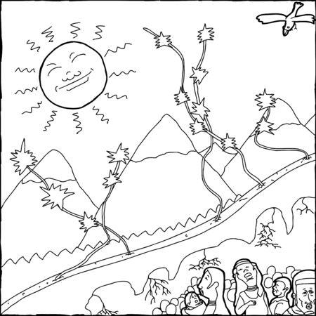 Hand drawn black outline of Native American creation story Ilustração