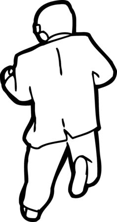 Cartoon outline of businessman running from rear view Illustration
