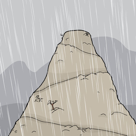 Thunderstorm with rain over tall mountain