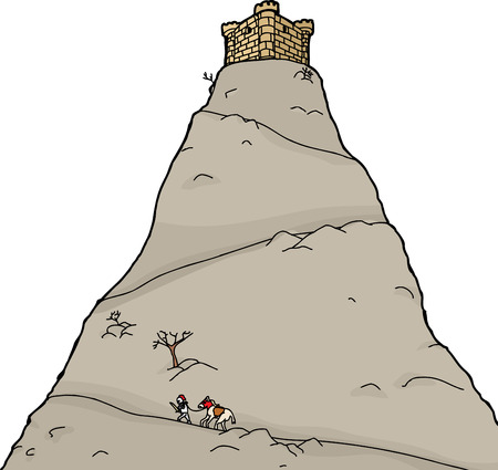 Knight going up isolated mountain toward castle