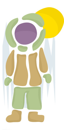person standing: Person standing in snowsuit made of abstract vector shapes