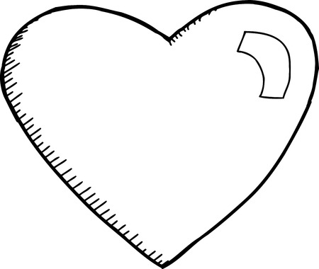 Outlined doodle heart cut out over white background Illustration