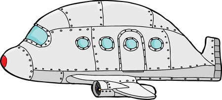 passenger plane: Isolated single hand drawn cartoon passenger plane