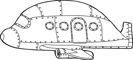 aluminum airplane: Single empty cartoon outline of passenger airplane