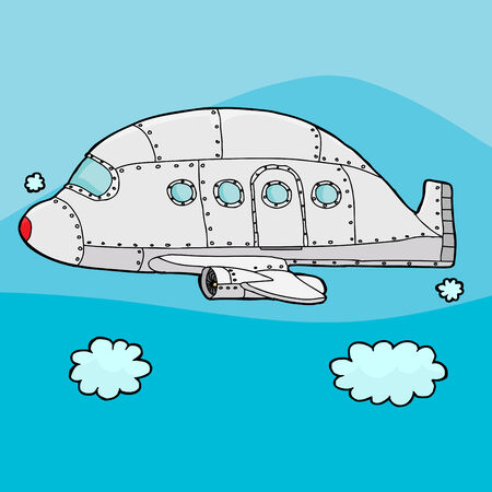 aluminum airplane: Single empty cartoon airplane above the clouds