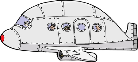 aluminum airplane: Single hand drawn passenger plane with pilot and passengers
