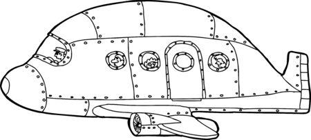 hand drawn cartoon: Con una sola mano de aluminio dibujo animado hecho avi�n de pasajeros