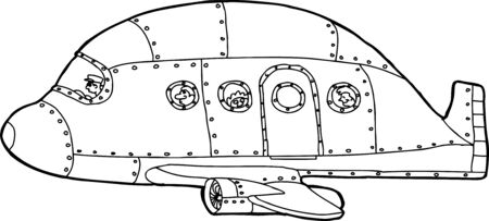 aluminum airplane: Single hand drawn cartoon aluminum passenger airplane Illustration