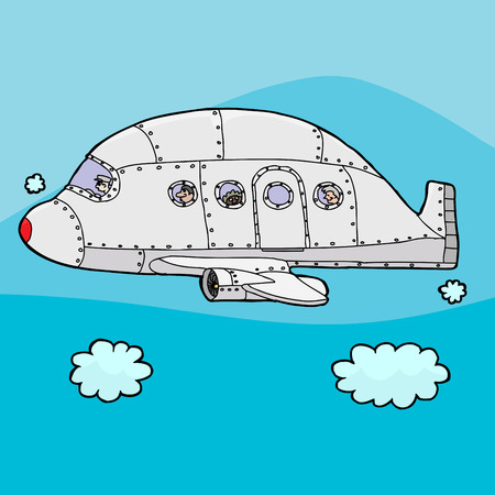 clouds: Cartoon airplane with passengers inside above the clouds Illustration