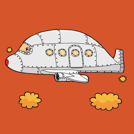 aluminum airplane: Airplane pilot flying empty jet over orange sky Illustration