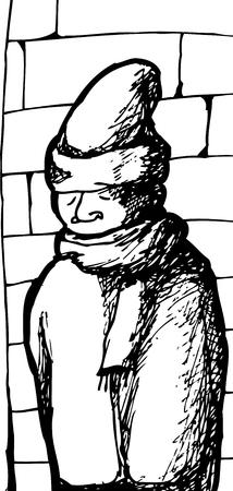 Outline sketch of man near brick wall in winter coat
