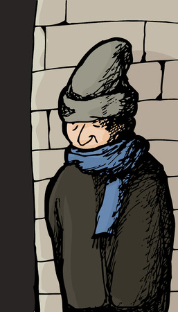 Caucasian male in coat and scarf by wall outside Illustration
