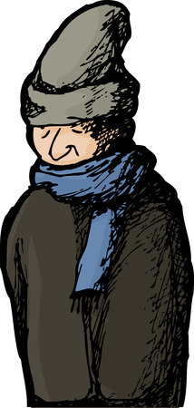 cold weather: Isolated man standing outside in cold weather clothing