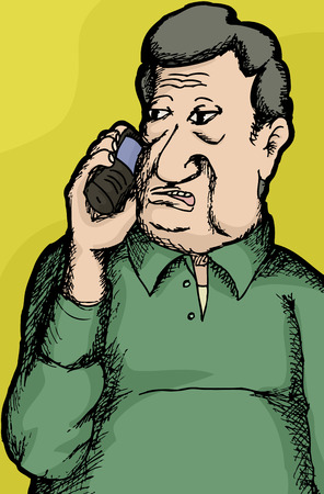 answering phone: Sketch of mature single man talking on telephone