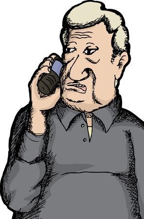 old phone: Hand drawn Caucasian man talking on telephone Illustration