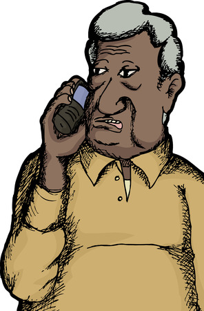 One senior citizen Indian man talking on cell phone Vector