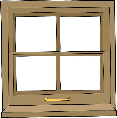Isolated hand drawn cartoon window with four panes