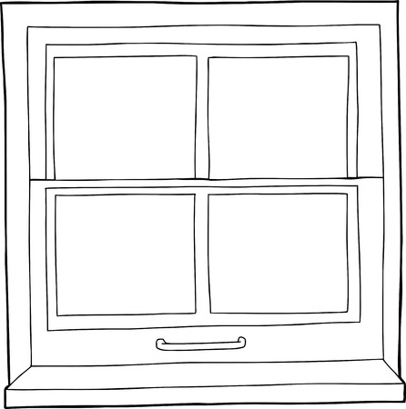 Single hand drawn outline of window with four panes Ilustrace