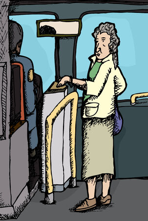 Senior citizen woman paying for ride on bus