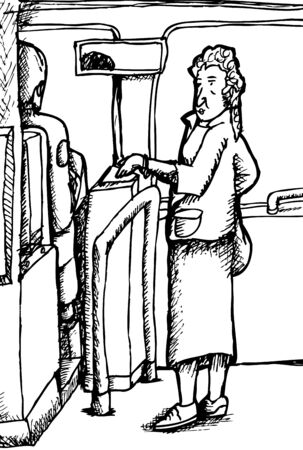 middle aged woman: Outline cartoon of woman female for ride on bus