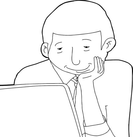 man with laptop: Outline of smiling Black man looking at his laptop computer Illustration
