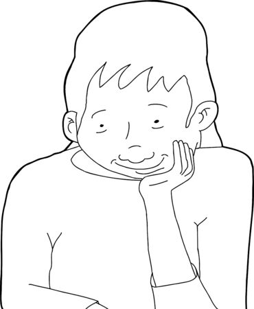 admiring: Outline of happy woman with chin in hand Illustration