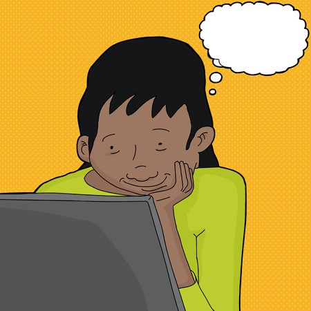 Cute woman with thought bubble looking at laptop Illustration