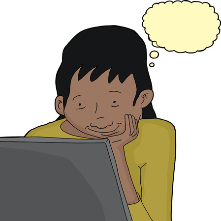 Isolated thinking Hispanic female looking at laptop Vector