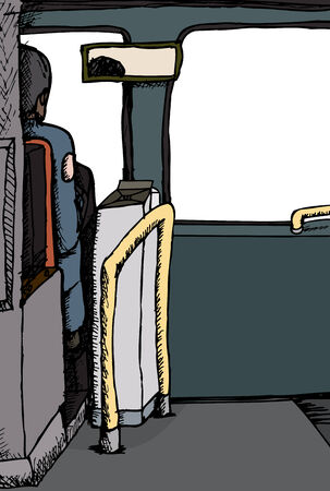 rear view: Rear view illustration of driver in a bus
