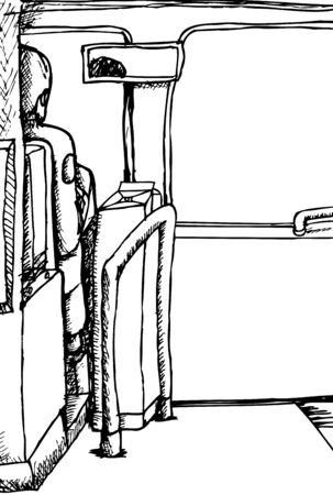 Outline sketch of bus driver from rear view