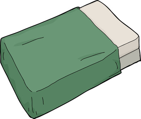 mattress: Single hand drawn bed mattress with green blanket