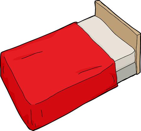 headboard: Single hand drawn cartoon bed with headboard Illustration