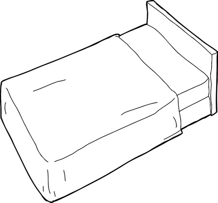 headboard: Outlined hand drawn cartoon bed with headboard