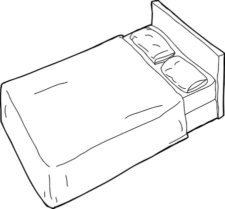 Single hand drawn cartoon bed with pillow outline Illustration