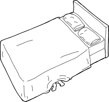 paranoia: Single hand drawn cartoon bed outline with feet underneath Illustration