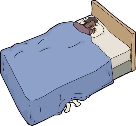 under the bed: Hand drawn cartoon of nervous man with feet under bed