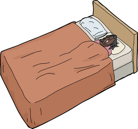 Hand drawn cartoon of snoring female asleep on bed