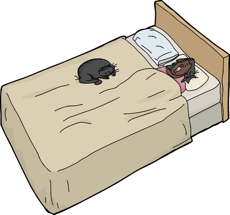 Single woman sleeping on bed with black cat Vector