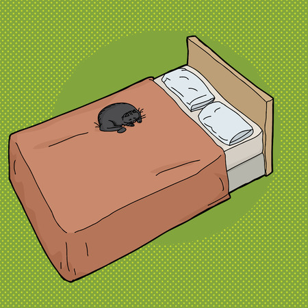 Cartoon of sleeping black cat on bed with pillows