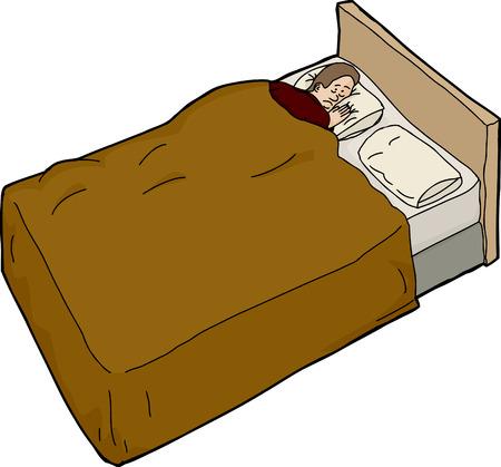 unable: Isolated cartoon of worried European man unable to sleep Illustration