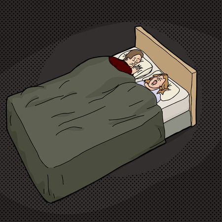 snoring: Cartoon of tired man in bed with snoring woman Illustration