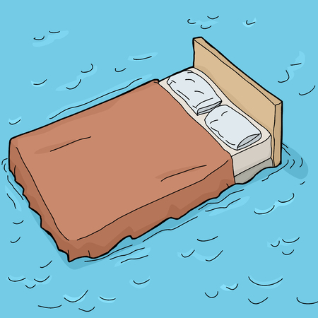 Single hand drawn cartoon bed floating in water