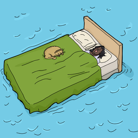 Black woman with pet cat asleep in bed on water Illustration