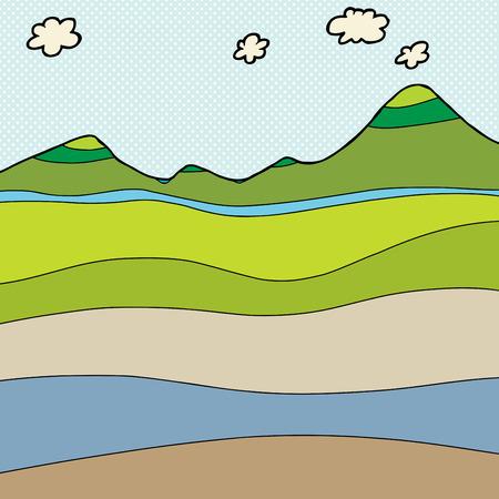 Nappe phréatique Blank section de montagne dessin Banque d'images - 35373931