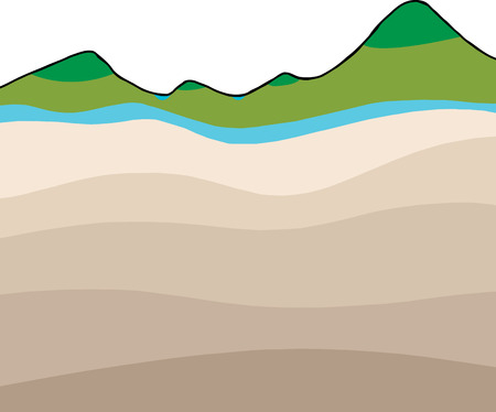 cross section: Abstract water table landscape cross section graphic