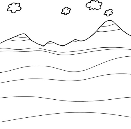 Hand drawn geology graphic outline with copy space