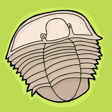 extinction: Ancient Cambrian period trilobite fossil drawing over green
