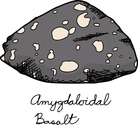 Isolated amygdaloidal basalt rock illustration over white background Çizim